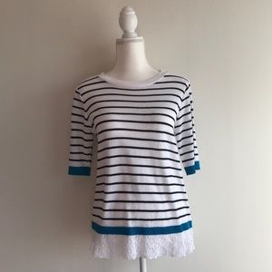 Christopher & Banks Striped Lace Sweater Small